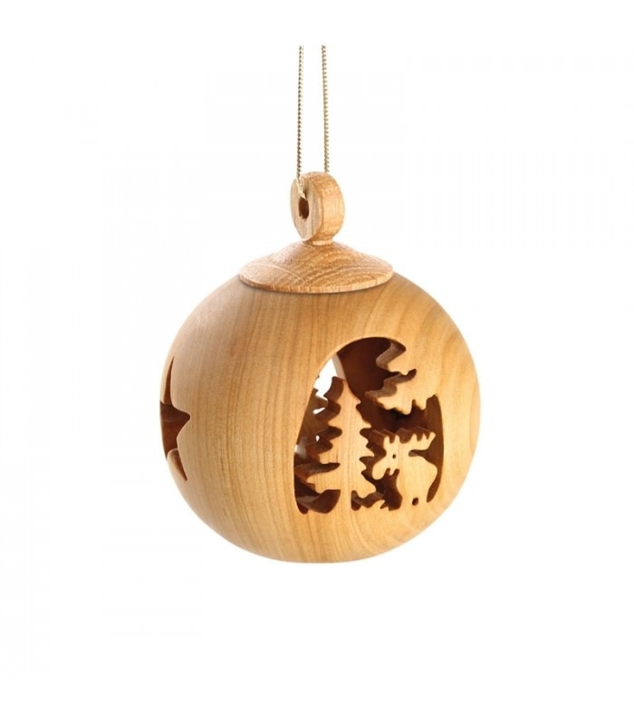 boule de no l en bois 6 cm motif lan decoration de noel. Black Bedroom Furniture Sets. Home Design Ideas