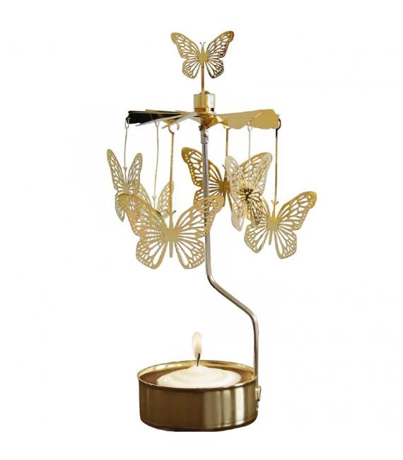 carrousel rotatif papillons dorés