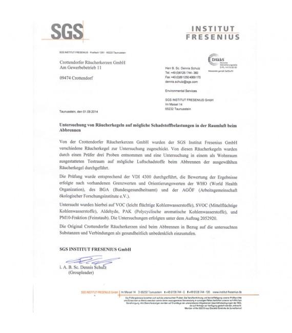 Encens certificat européen de conformité