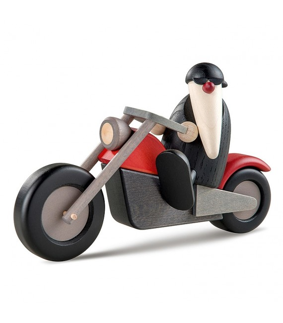 Père Noël moderne à moto au look rocker