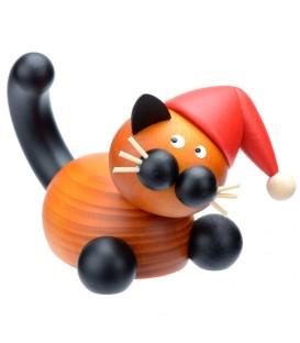 Figurine chat en bois couché, père Noël, 5 cm