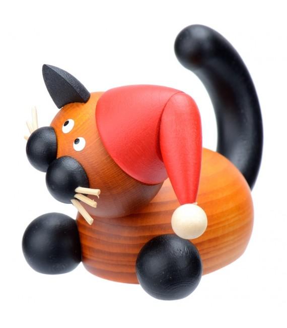 Figurine chat en bois père Noël