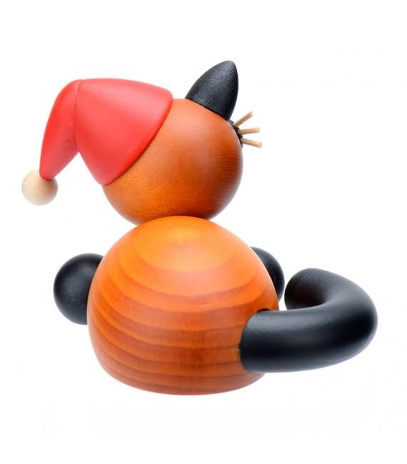 père Noël chat en bois