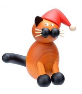 Père Noel chat en bois assis, 8 cm