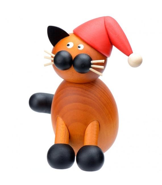 père Noel chat en bois avec bonnet rouge