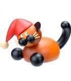 Statuette chat en bois père Noel