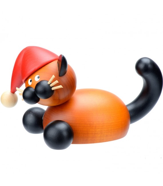 père Noel en bois chat décoratif