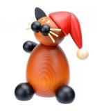 Statuette père Noel chat en bois décoratif