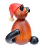 Statuette chat en bois décoratif père Noel