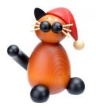 chat en bois père Noel