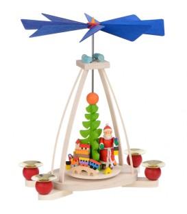 Manège de Noël à bougies cadeaux et père Noël