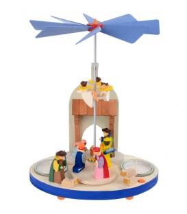Manège en bois avec crèche de Noel et anges pour enfant