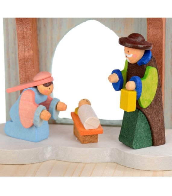 Manège en bois enfant avec crèche de Noel et anges