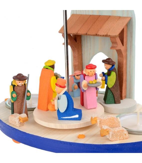 crèche de Noel en bois avec rois mages