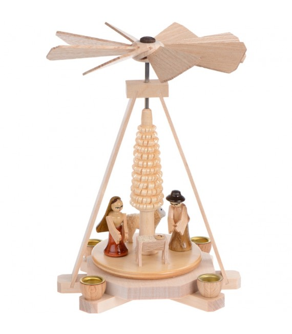 Petit carrousel en bois avec creche de Noel