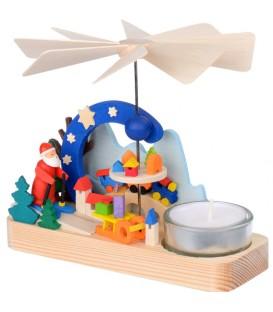 Petit carrousel en bois père Noël et jouets
