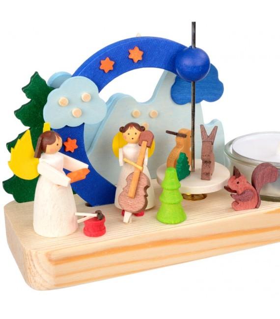 Petit carrousel en bois anges musiciens