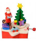 Boite à musique à manivelle rouge, Père Noel et enfant