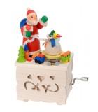 Boite à musique enfant à manivelle, père Noel et jouets