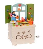 Boite à musique enfant à manivelle, elfe dans sa cuisine