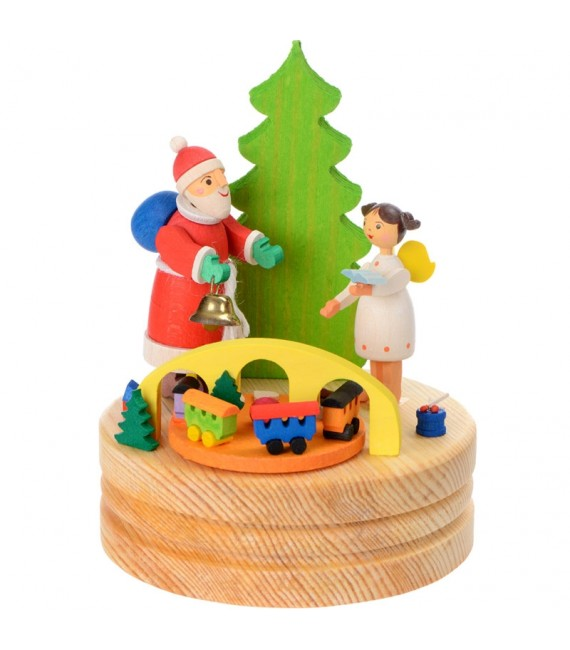 Boite à musique bois, père Noel et ange blanc
