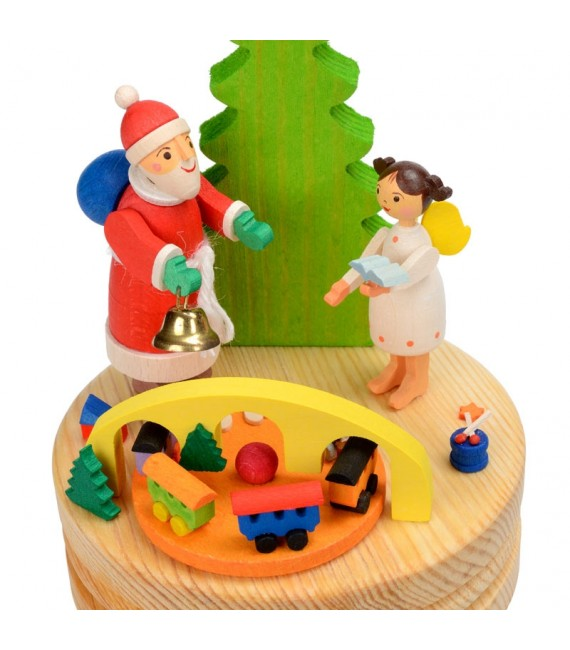 Boite à musique en bois, père Noel et ange blanc