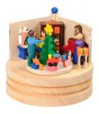 Boite musicale en bois, famille autour du sapin de Noel