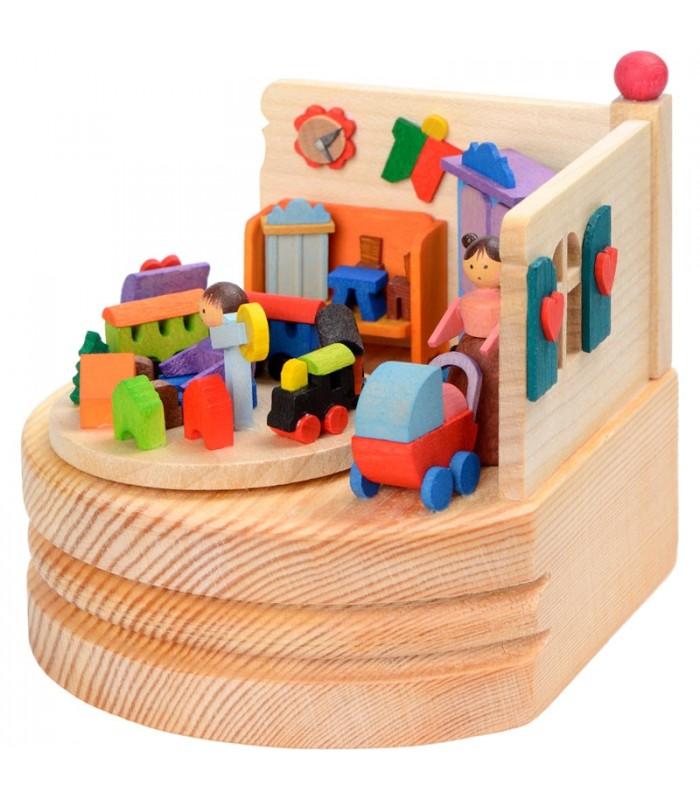 boite musique bois maman et ses deux enfants. Black Bedroom Furniture Sets. Home Design Ideas