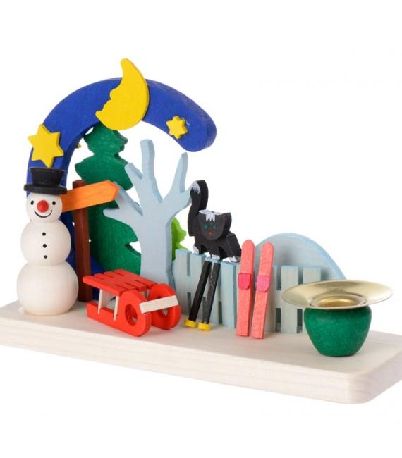 Petit bougeoir de Noel bonhomme de neige