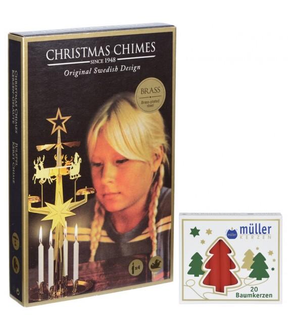 Kit Carillon Père Noël doré + bougies rouges