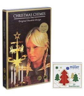 Kit Carillon Père Noël DORÉ + bougies