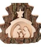 Crèche de Noel taillée dans une écorce de bois, motif sapin