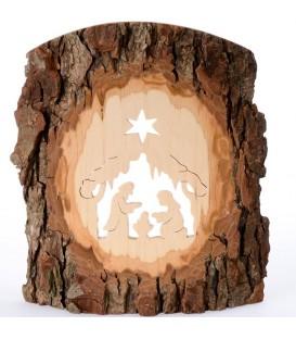 Crèche à poser en écorce de bois, 18 cm
