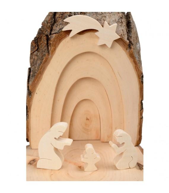 Petite crèche de Noël en écorce de bois avec bougeoir
