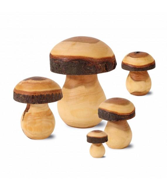 Champignon en bois sculpté, 8 cm