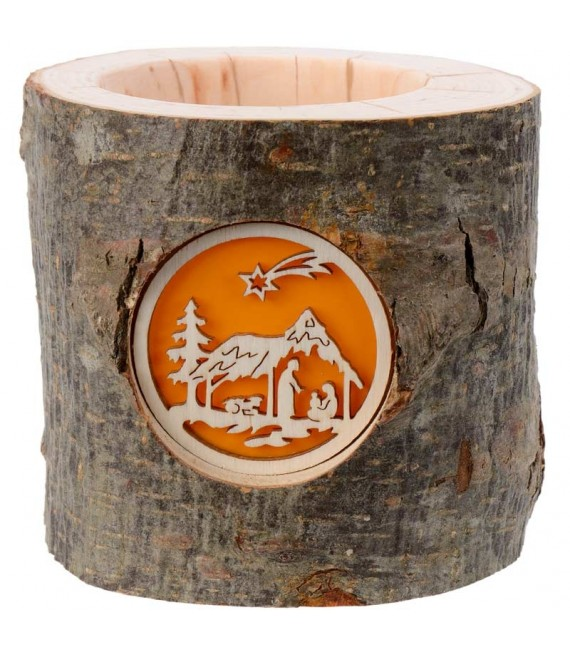 Photophore en bois de rondin, crèche de Noel