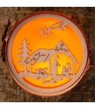 Bougeoir photophore en bois, crèche de Noel