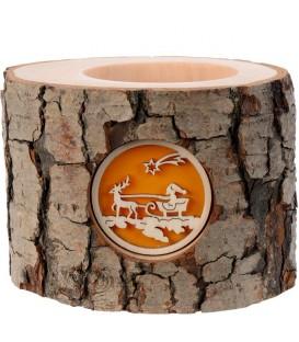 Photophore en bois, 1 motif pere Noel et traineau