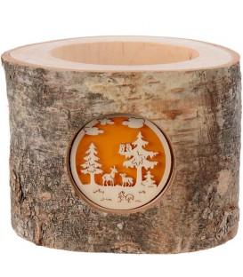 Photophore en rondin de bois, 1 motif animaux de la forêt