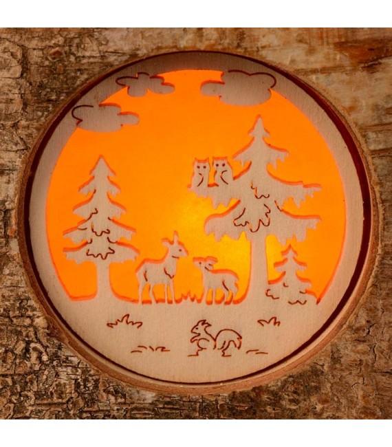 Bougeoir photophore en bois, animaux de la forêt