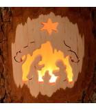 Bougeoir photophore bois ciselé, crèche de Noel et étoile