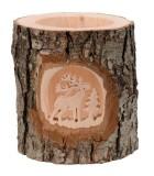 Photophore en bois ciselé, cerf