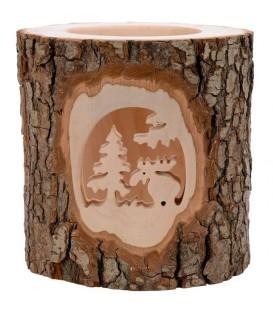 Photophore en bois ciselé, élan dans la forêt