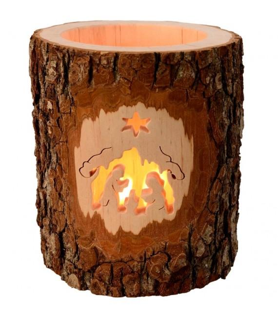 Photophores en bois ciselé, crèche de Noel et étoile