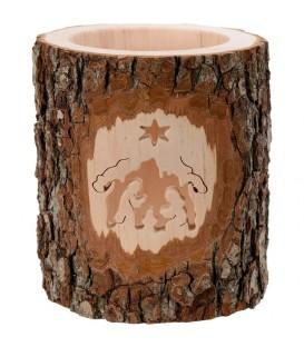 Photophore en bois ciselé, crèche de Noel et étoile