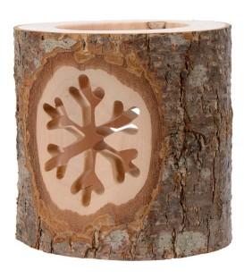 Photophore en rondin de bois, avec 2 motifs ciselés flocon de neige
