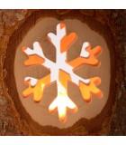 Bougeoir photophore en bois motifs ciselé, flocon de neige