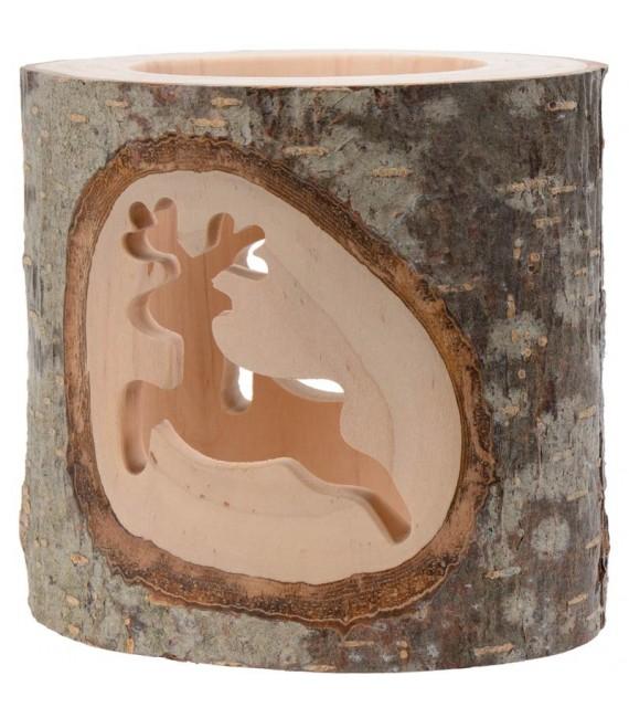 Photophore avec 2 motifs en bois ciselé, renne