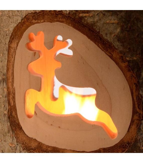 Bougeoir photophore motifs bois ciselé, renne