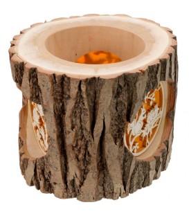 Photophore en rondin de bois, avec 3 motifs, écureuil, chat et oiseaux